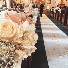 fabulous vancouver florist #pewmarker #chairflower At a catholic church. Classic, soft blush pew markers. The isle looked so beautiful. #Sunflowerflorist #20150704 #vancouver #florist #wedding #꽃 #꽃스타그램 #플로리스트 #밴쿠버  #vancouverflorist #vancouverwedding #vancouverweddingdosanddonts