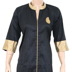Indian Ethnic Hand Embroidered Black Semi Raw Silk Ladies Top / Kurti / Kurta - Brocade Patchwork - Women's Dress - All Sizes 903832 by theaonline on Etsy