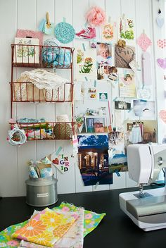 inspiration wall hung up with washi tape