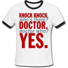 Doctor Who Knock Knock Joke Men's Ringer T-Shirt White/Black Men's... ($19) ❤ liked on Polyvore featuring men's fashion, men's clothing, men's shirts, men's t-shirts, mens t shirts, mens long sleeve shirts, black and white mens shirt, mens collared shirts and mens long sleeve t shirts