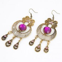 Vintage Hollow-out Court Style Gem Inlaid Bowknot Earrings - Purple