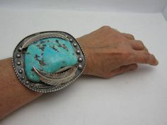 HUGE-NATIVE-AMERICAN-NAVAJO-TURQUOISE-STERLING-SILVER-CHUNKY-BRACELET-SIGNED