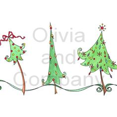 Swirly Christmas Tree Border is an original high quality watercolor border. Christmas Doodles, Christmas Art, Christmas Door Hangings, Christmas Decorations, Tree Borders, Christmas Tree Drawing, Pyrography Patterns, Christmas Chalkboard, Cool Lettering