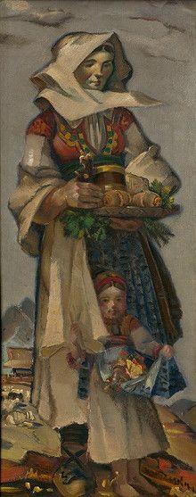Martin Benka - Slováci   Web umenia Eastern European Recipes, Folk Clothing, Heart Of Europe, Epoch, Statues, Illustrators, Folk Art, Graphic Art, Illustration Art