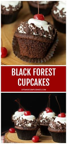 These black forest cupcakes have amoist chocolate base homemade cherry filling and a freshly whipped cream topping. They'relight yet decadent! Chocolate Cherry Cupcakes, Mocha Cupcakes, Strawberry Cupcakes, Velvet Cupcakes, Vanilla Cupcakes, Moka, Black Forest Cupcakes, Cherry Bread, Delicious Desserts