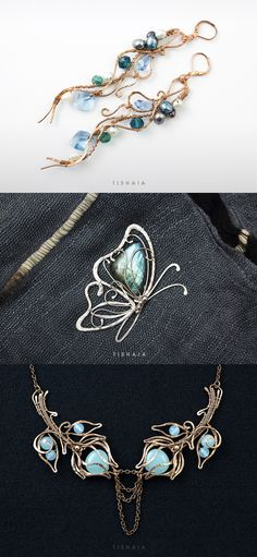 Mermaid's Bounty, Butterfly, Winter Roses by tishaia Handmade jewelry. Wire wrapped earrings, necklace and a brooch with labradorite.