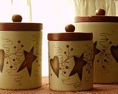 Primitive Country Rusty Tin Hearts Stars Pip Berries Stoneware Canister Set