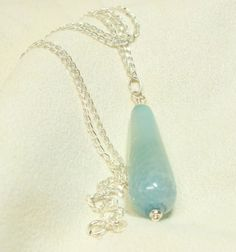 Aqua Blue Crab Agate Teardrop Pendant Necklace on by mostlybeads, $27.00