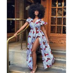 Cold Shoulder African Maxi dress With Front Slit | African Print Dresses | African Clothing Styles