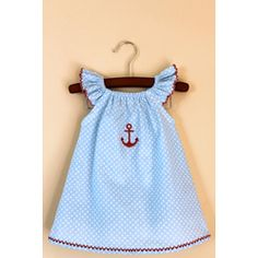 Sailor peasant baby dress with matching bloomers and booties  Price:$45.00    Price:$45.00