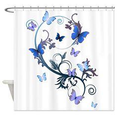 CafePress Blue Butterflies Shower Curtain