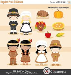 50% OFF SALE Thanksgiving pilgrim digital clipart / Thanksgiving clip art / Pilgrim clipart for personal and commercial use / instant downlo