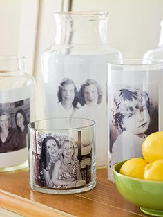 I love this simple idea. Look for different glass jars and candle holders at the dollar store or craft store, and reprint some photos in black and white from your childhood or your parent's childhood to put inside.