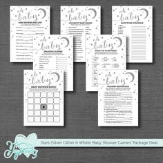INSTANT DOWNLOAD! Printable Silver Glitter Stars - Baby Shower Game Package Deal by Joytations on ETSY. Each game is sold separately. Print at home or at a local print shop! Visit my ETSY shop for details.
