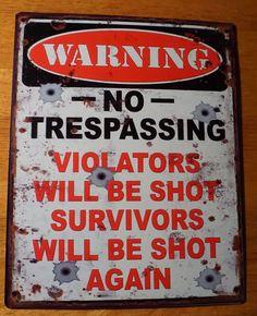 WARNING NO TRESPASSING Violators Will Be Shot Hunter Hunting Lodge Decor Sign #HannasHandiworks #RusticPrimitive