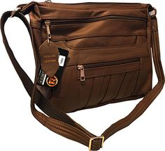 Leather Concealed Carry Crossbody Purse  YKK Locking CCW Ambidextrous Gun Bag Roma 7082 Brown >>> You can find more details by visiting the image link.