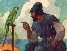"""Habiendo recuperado un poco el ánimo respecto a mi condición y renunciando a mirar hacia el mar en busca de algún barco; digo que, dejando esto a un lado, comencé a ocuparme de mejorar mi forma de vida, tratando de facilitarme las cosas lo mejor que pudiera.""""  Daniel Defoe, """"Aventuras de Robinson Crusoe"""" - illustrations by N. C. Wyeth, 1920"""