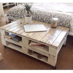 Farmhouse Industrial Reclaimed Pallet Coffee Table Shabby Chic Upcycled Wheels Farrow and Ball