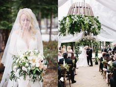Elegant green and white wedding ceremony from Lake Tahoe wedding photographer, Gagewood Photo, and Elise Events.