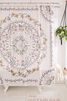Sketched Floral Medallion Shower Curtain - Cotton shower curtain print with a folk-inspired floral medallion for countryside bohemian vibes no matter where you're at. Floral Shower Curtains, Boho Curtains, Bathroom Curtains, Bohemian Shower Curtain, Pretty Shower Curtains, Vintage Shower Curtains, Boho Bathroom, Bathroom Ideas, Ocean Bathroom