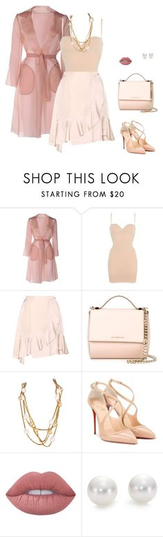 """""""Light colours"""" by katka-klimova ❤ liked on Polyvore featuring MaxMara, Wolford, Carven, Givenchy, Karl Lagerfeld, Christian Louboutin, Lime Crime and Mikimoto"""