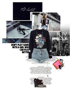 A girl who can play better by randomlife on Polyvore featuring mode, Christopher Kane, Levi's, Missoni, Kenzo, Chanel, Anja, White House Black Market, Liis Japan and denim shorts