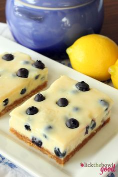 Lick The Bowl Good: Lemon blueberry squares- essentially the same recipe as key lime pie but a nice variation in bar form.  Need to try.