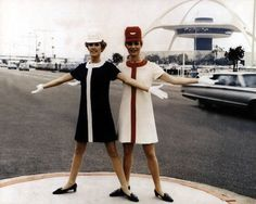 United Airlines uniforms  ( Johanna Omelia / Collectors Press Inc. )  United flight attendants model the Jean Louis design at Los Angeles International Airport in 1968. The uniform was popular with flight attendants because it was less restrictive.