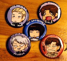 HETALIA  Axis Powers Set by ButtonMashing on Etsy, $10.00 // I need to buy these