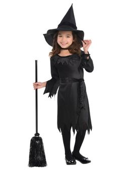 Toddler Girls Lil Witch costume features a pullover dress with serrated hem and cuffs and a black fabric belt. A matching witch hat completes the outfit. Costume Halloween, Kids Witch Costume, Halloween Costumes For Girls, Halloween Kids, Halloween 2017, Toddler Costumes, Costume Ideas, Costume Supercenter, Boyfriends