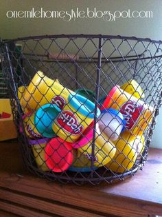 Play-doh stored in a wire basket!