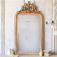 Eloquence One of a Kind Antique Mirror Louis Philippe Worn Gilt