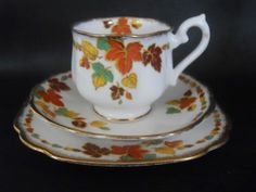 Beautiful Vintage Royal Albert Crown China Russet Pattern Tea Cup Trio