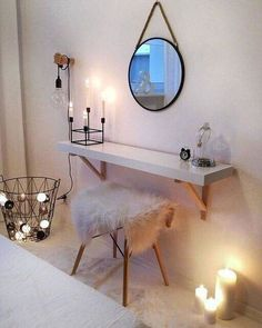 trendy bedroom ideas for small rooms inspiration bedside tables Ikea Bedroom, Room Decor Bedroom, Bedroom Ideas, Warm Bedroom, Gold Bedroom, White Bedroom, Makeup Room Decor, New Room, Diy Home Decor