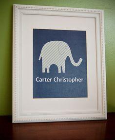 8x10 personalized boy's nursery print navy elephant print with name. $10.00, via Etsy.    Elephant Theme?