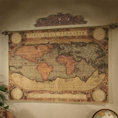 old world map tapestry