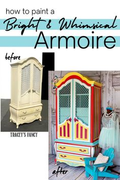 Turquoise, yellow, red and fuschia 😱 - this armoire was painted to match a tufted headboard for a tween girl in a VERY well styled beach house! I love the mix of fire red and fuschia—it's so… More Diy Furniture Projects, Paint Furniture, Furniture Makeover, Diy Projects, Furniture Design, Whimsical Painted Furniture, Colorful Furniture, Diamond Furniture, Painted Armoire