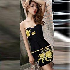 Xinfu ® Madini mujeres de fuera del hombro palabra de honor vestido de fiesta Bodycon – USD $ 17.49