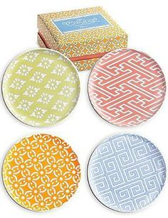 Perfect for al fresco dining, the bright and intricate designs of the Set of Four Calypso Assorted Plates are sure to bring new life to any dinner party.