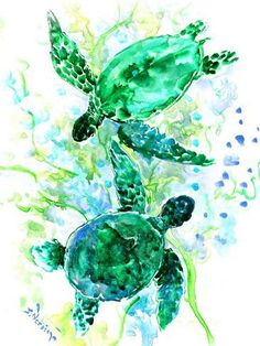 Sea Turtle Art, original watercolor artwork turquoise blue green turquoise navy blue wall artwork underwater scene two turtles by ORIGINALONLY on Etsy by SUREN NERSISYAN , surenart Sea Turtle Painting, Sea Turtle Art, Turtle Love, Sea Turtles, Watercolor Art Paintings, Watercolor Paper, Flower Watercolor, Watercolor Animals, Navy Blue Walls