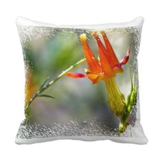Crimson Columbine White Edge Throw Pillow from Florals by Fred #zazzle #gift #photogift