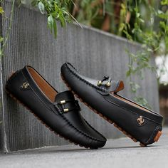 Tienda Online 2015 Sale black genuine leather loafers mens fashion boat shoes fashion brown male platform oxford casual solid mocassin for men Mens Puma Shoes, Mens Loafers Shoes, Suit Shoes, Loafers Outfit, Black Loafers, Leather Loafers, Loafer Shoes, Cheap Boat Shoes, Brown Sneakers