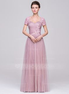 A-Line/Princess Sweetheart Floor-Length Tulle Mother of the Bride Dress With Ruffle Beading Sequins (008056890)