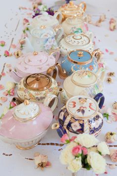 lace pink tea floral roses china tea pot Table rose petals tea time vintage china tea pots
