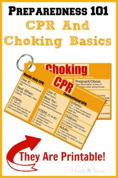 Learn the basics of CPR and Choking first aid.  Then print out cards to help you remember what you learned when you need it.