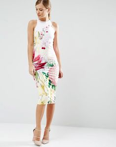 f089727daa767 Image 4 of Ted Baker Julee Midi Dress in Encyclopedia Floral Print Midi Dress  Outfit
