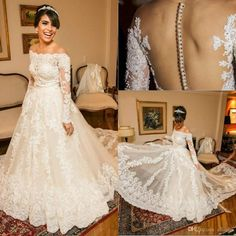 2016 Luxury Full Lace Wedding Dresses Sexy Off Shoulders Long Sleeves A Line Illusion Button Back Beaded Pearls Bridal Gowns With Long Tail Designer Wedding Gowns Gorgeous Wedding Dresses From Allanhu, $263.88| Dhgate.Com