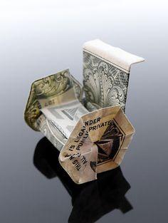 Dollar Bill Origami Wheelchair by ~craigfoldsfives on deviantART Fold Dollar Bill, Dollar Bill Origami, Money Origami, Dollar Bills, Folding Money, Origami Folding, Paper Folding, Paper Crafts Origami, Diy Origami