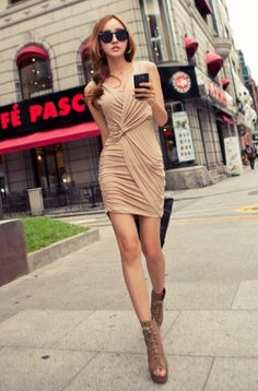 Ruched Fitting Dress. Please help to like our page at https://www.facebook.com/pages/Wildcat/180500535443923