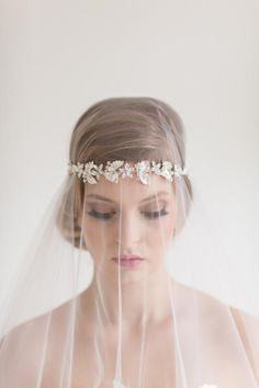 Gold Headband Wedding Birdcage Veil By SilkPearlDesign
